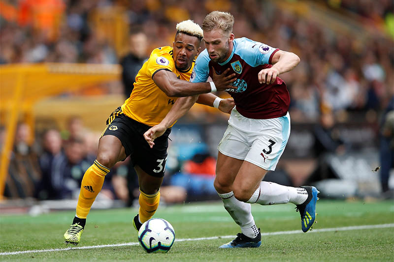 Wolverhampton Wanderers' Adama Traore in action with Burnley's Charlie Taylor. Photo: Reuters