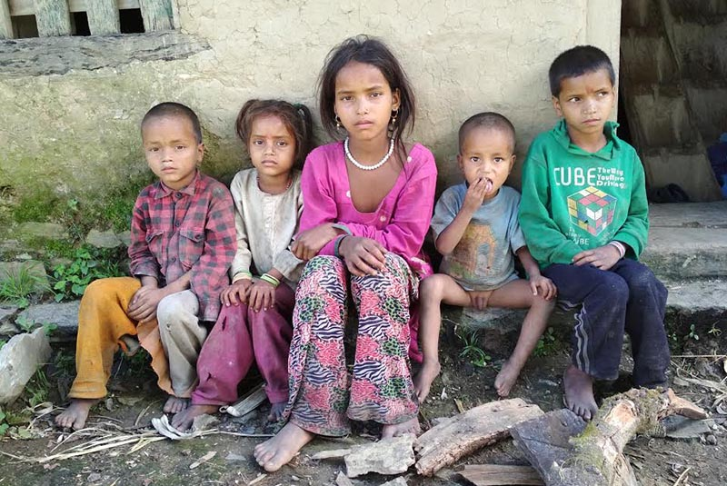 Siblings of a family whose father died and mother abandoned them, in Badimalika Municipality, Bajura, on Monday, September 10, 2018. Photo: THT