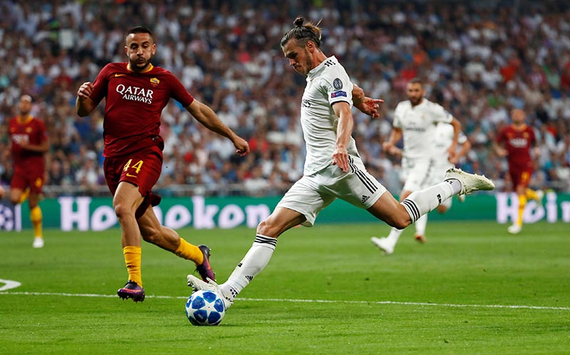 Real Madrid's Gareth Bale scores their second goal during the Champions League, Group G match between Real Madrid and AS Roma, at Santiago Bernabeu, in Madrid, Spain, on September 19, 2018. Photo: Reuters