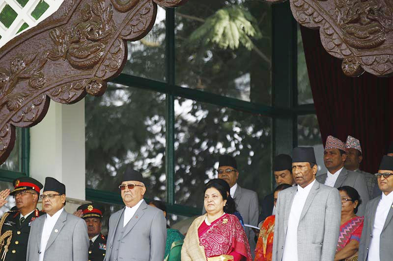 President Bidya Devi Bhandari (centre right) and Prime Minister KP Sharma Oli along with ministers, chief justice, speaker of the Houses, and other high ranking officials attend a programme organised to mark the Constitution Day at Nepal Army pavilion in Tundikhel, Kathmandu, on Wednesday, September 19, 2018. Photo: Skanda Gautam/THT