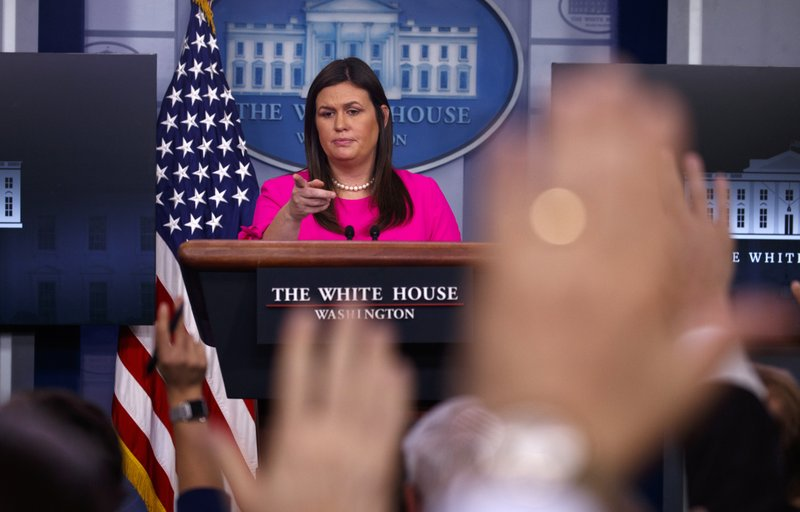 White House press secretary Sarah Huckabee Sanders speaks during the daily press briefing at the White House on , Monday, Sept. 10, 2018, in Washington. Photo: APn