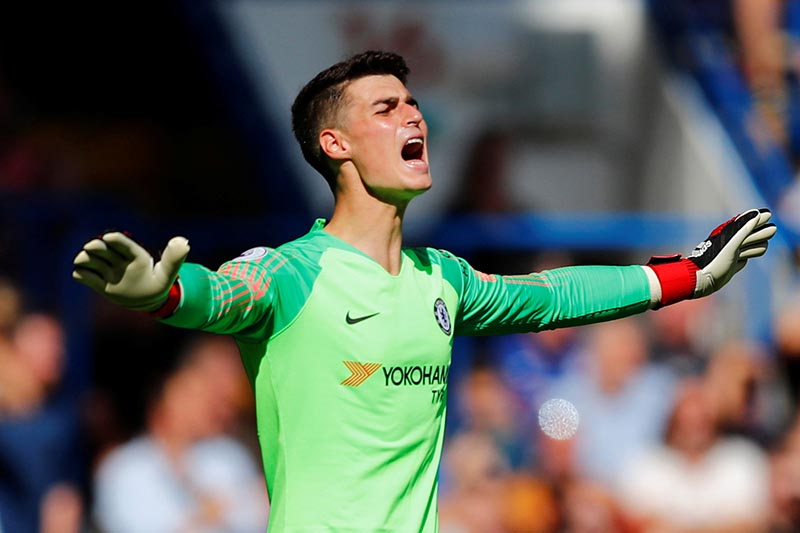 Chelsea's Kepa Arrizabalaga during the match during Premier League match between Chelsea and  AFC Bournemouth, at Stamford Bridge, in London, Britain , on September 1, 2018. Photo: Reuters