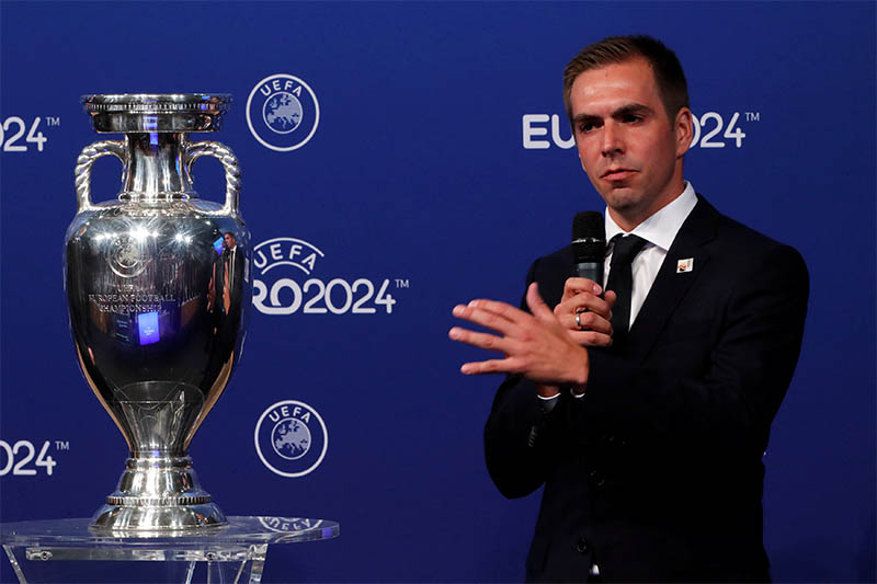 Germany ambassador for the European Championship, Philipp Lahm after the announcement. Photo: Reuters