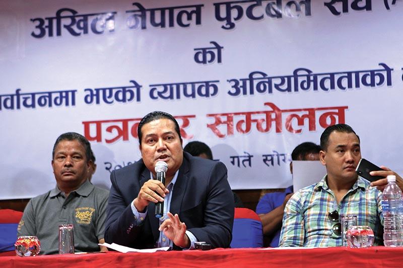 Former senior vice-president of ANFA Mani Kunwar speaks during a press meet in Kathmandu on Monday. Photo: THT