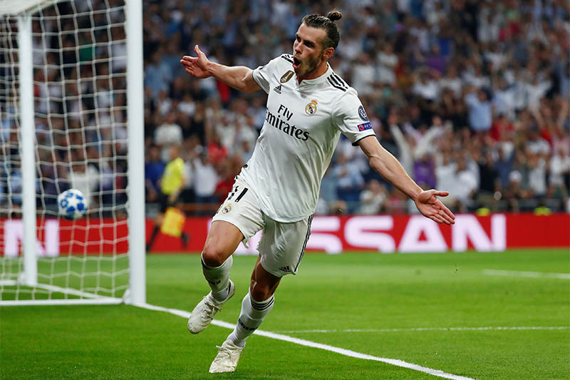 Real Madrid's Gareth Bale celebrates scoring their second goal. Photo: Reuters