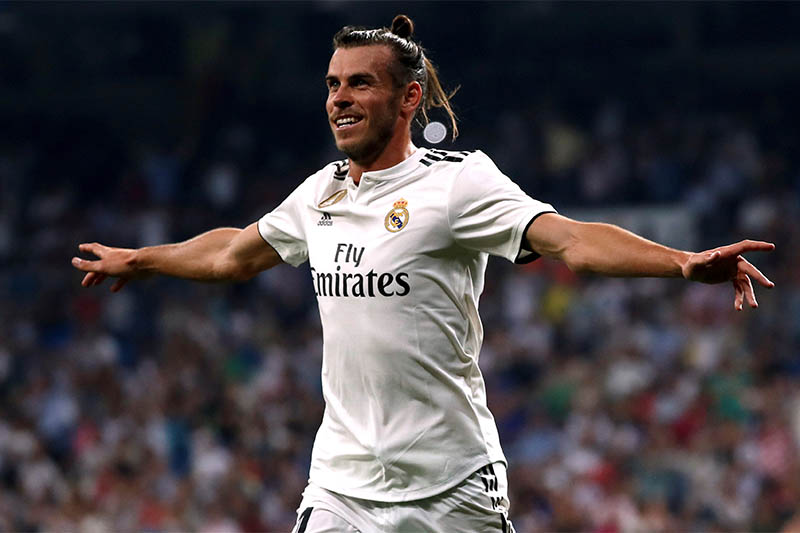 Real Madrid's Gareth Bale celebrates scoring their first goal. Photo: Reuters