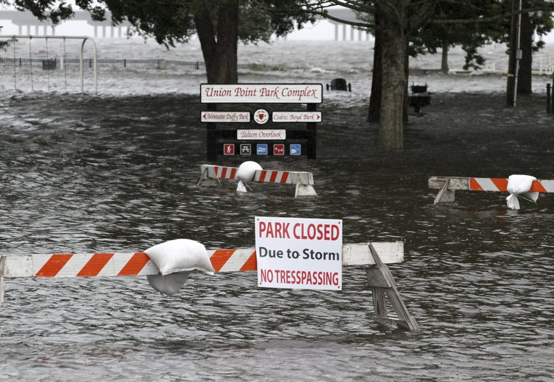 Union Point Park is flooded with rising water from the Neuse and Trent Rivers in New Bern, N.C. on Thursday, Sept. 13, 2018. Photo: AP