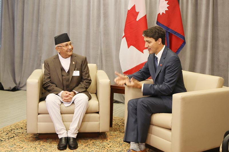 Prime Minister KP Sharma Oli holds discussion with his Canadian counterpart Justin Trudeau before signing a memorandum of understanding, on the sideline of 73rd United Nations General Assembly, in New York, USA, on September 25, 2018. Nepali delegation headed by Prime Minister KP Sharma Oli is in New York to attend the UNGA. Photo: RSS.