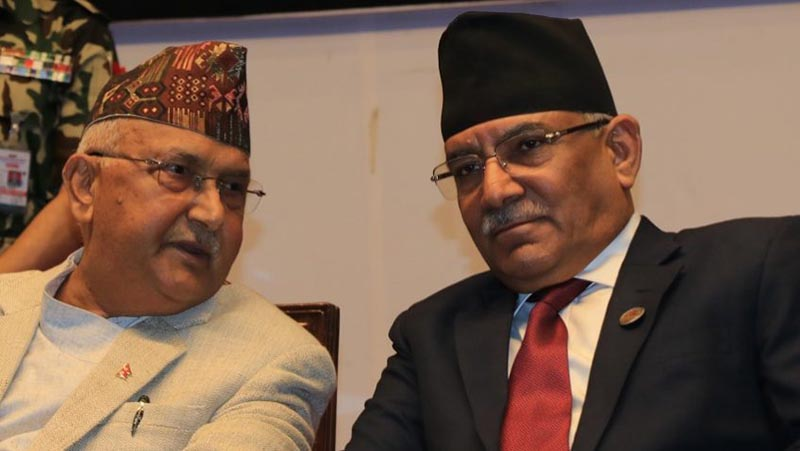 Nepal Communist Party (NCP) Co-chairpersons Prime Minister KP Sharma Oli and Pushpa Kamal Dahal hold meeting at the former's official residence in Baluwatar, Kathmandu, on Monday, September 10, 2018. Photo: Pushpa Kamal Dahal's secretariat