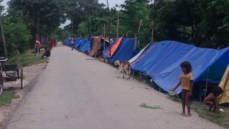 Koshi River flood victims  taking shelter in tents erected on the roadside  in Hunumannagar Kankalini Municipality, Saptari, on Sunday, September 9, 2018. Photo: THT
