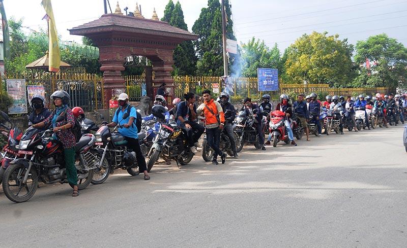 Two-wheelers lining up outside the army petrol pump at Lagankhel in Lalitpur on Thursday, September 20, 2018. Photo:Balkrishna Thapa  Chhetri/THT