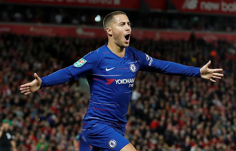 Chelsea's Eden Hazard celebrates scoring their second goal during the Carabao Cup, Third Round match between Liverpool and Chelsea, at Anfield, in Liverpool, Britain, on September 26, 2018. Photo: Action Images via Reuters