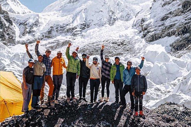 First ski descent Lhotse expedition team. Courtesy: Pemba Sherpa