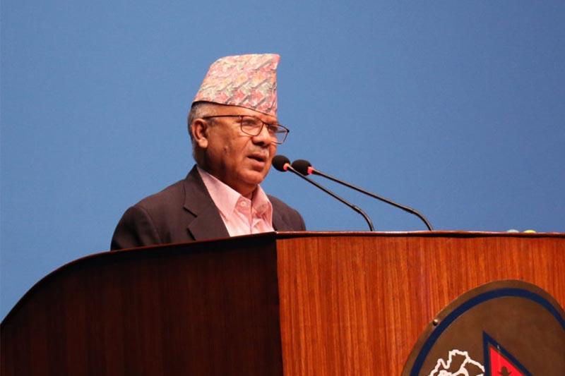 Nepal Communist Party (NCP) Senior leader Madhav Kumar Nepal addresses the House of Representatives on Thursday, September 27, 2018. Photo: RSS