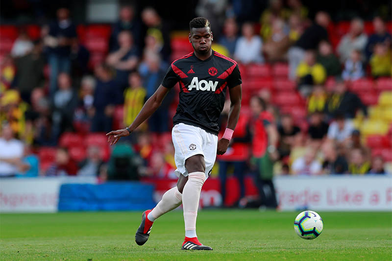 Manchester United's Paul Pogba during the warm up before the match. Photo: Reuters