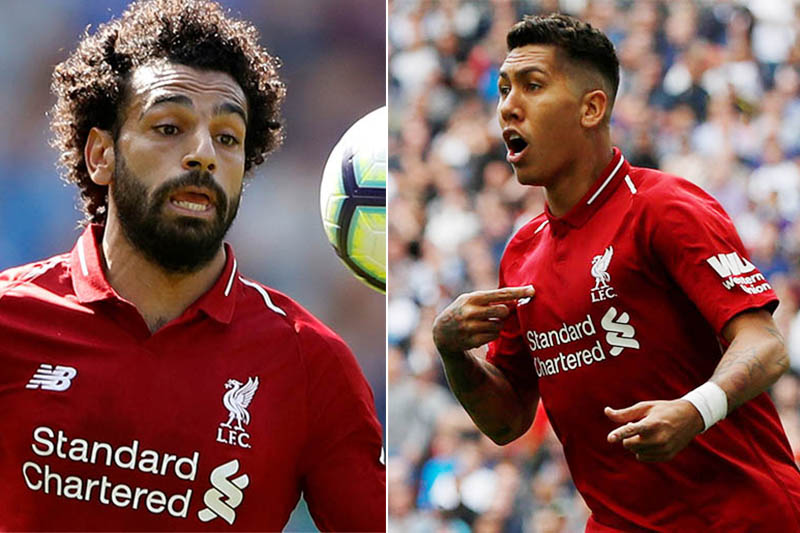 File: Liverpool's striker Mohamed Salah (left) and Roberto Firmino. Photo: Reuters