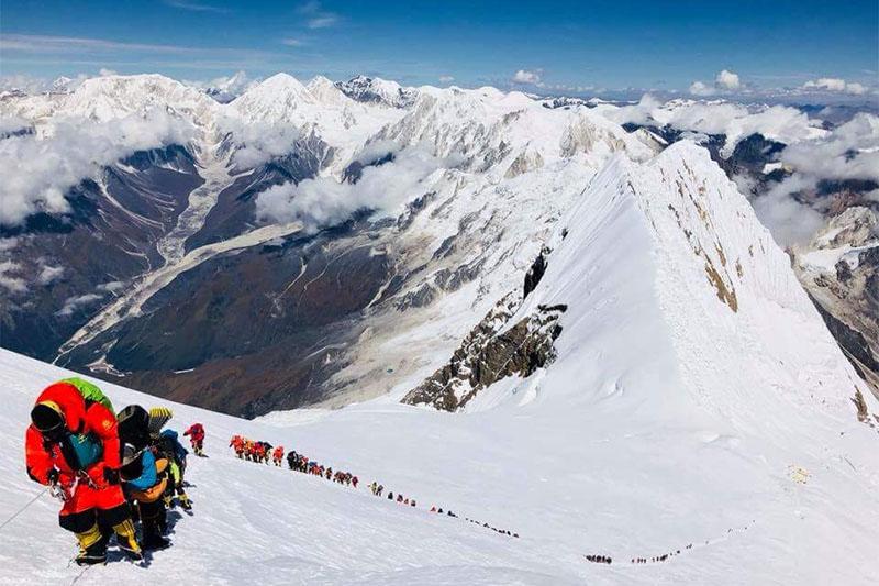 Climbers heading to the summit of Mt Manaslu on Saturday. Courtesy: Mingma David Sherpa