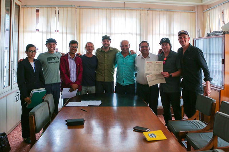 Mt Saipal ski expedition team with officials after receiving climbing and ski permits. Photo: THT