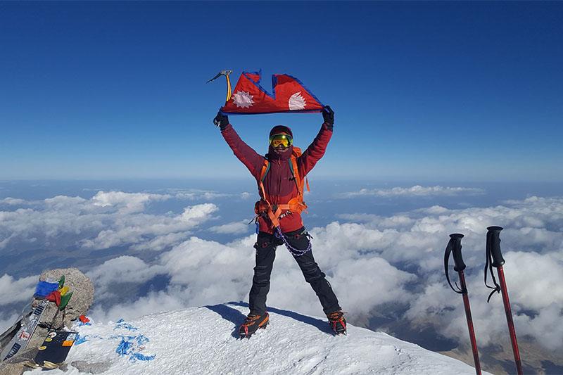 Narbin Magar on top of Mt Elbrus. Courtesy: Magar/facebook