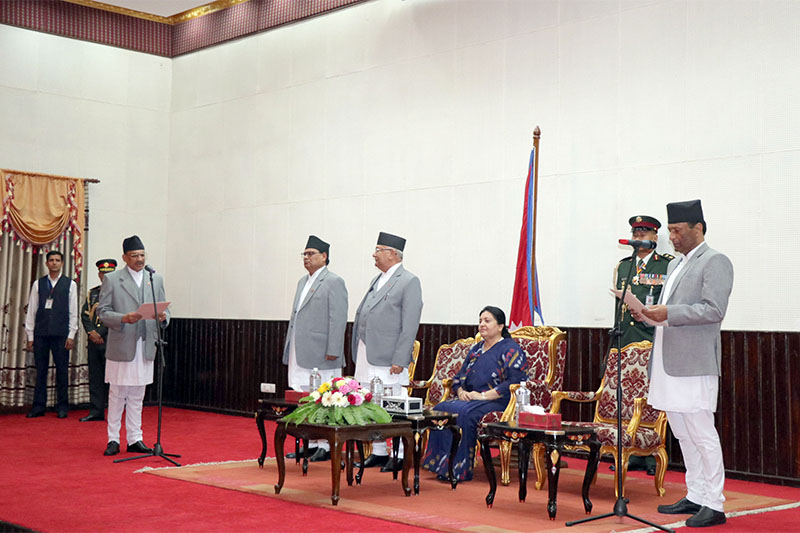 Chief Justice Om Prakash Mishra administers the oath of office and secrecy to newly appointed Chief Commissioner of the Commission for Investigation of Abuse of Authority (CIAA) Navin Kumar Ghimire at Sheetal Niwas in Kathmandu, on Thursday, September 20, 2018. Photo: RSS