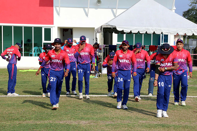 Nepali players enter the field to take on Singapore during Asia Cup Qualifiers in Malaysia. Courtesy: Raman Shiwakoti
