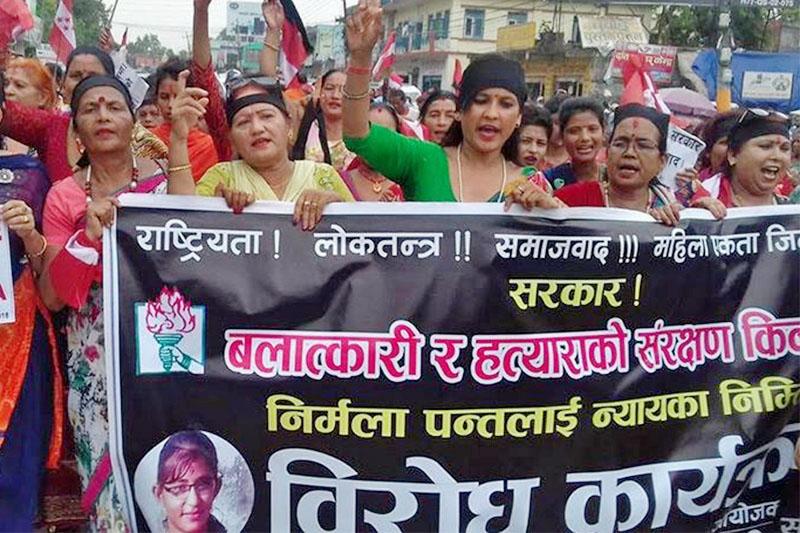 Locals protest demanding justice for Nirmala Panta in Kailali district on Sunday, September 23, 2018. Photo: Tekendra Deuba