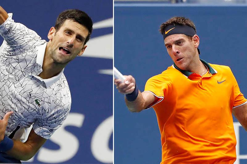 File: Serbia's Novak Djokovic (left) and Argentina's Juan Martin Del Potro