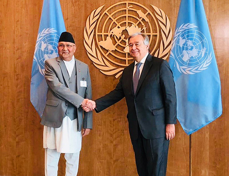 Prime Minister KP Sharma Oli and Secretary-General of the United Nations Antu00f3nio Guterres hold a meeting during the 73rd United Nations General Assembly, in New York, on Friday, September 28, 2018. Photo: Permanent Mission of Nepal to the UN via RSS