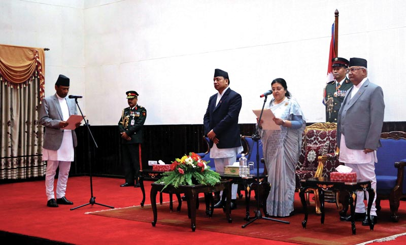 President Bidhya Devi Bhandari administering oath of office and secrecy to newly appointed Chief Justice Om Prakash Mishra at the Office of the President, in Shital Niwas, on Monday, September 11. 2018. Photo: AP