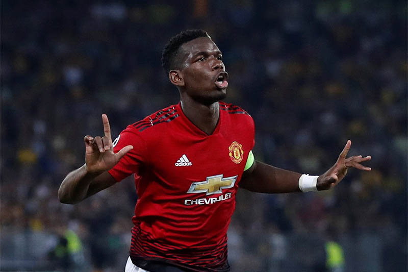 Manchester United's Paul Pogba celebrates scoring their first goal. Photo: Reuters