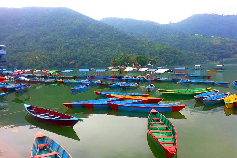 A view of boats moored in Phewa Lake, against the backdrop of hills, in Pokhara of Kaski district, on Thursday, September 27, 2018. Photo: Rup Narayan Dhakal/THT