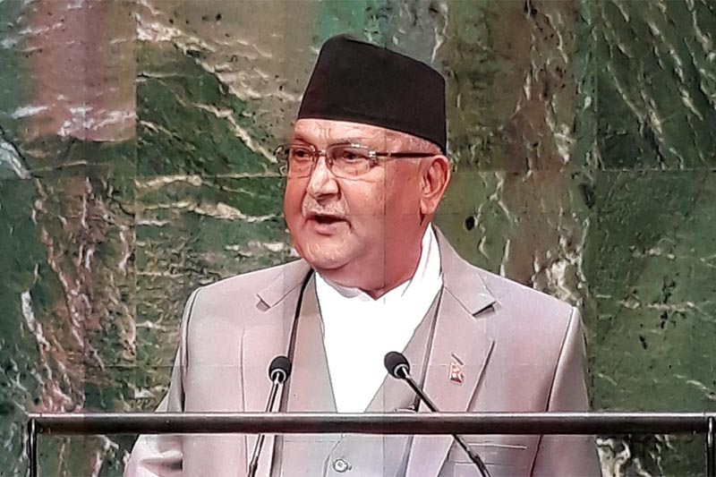 Prime Minister KP Sharma Oli addressing the 73rd session of the United Nations General Assembly in New York, USA, on Thursday, September 27, 2018. Photo: MoFA Nepal Twitter