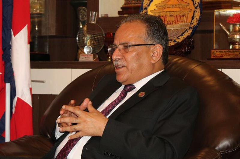 Former prime minister and Nepal Communist Party (NCP) Co-chairperson Pushpa Kamal Dahal talking to mediapersons at his residence in Khumaltar, Lalitpur on Tuesday, September 4, 2018. Dahal announced that he would be embarking on a six-day India visit, beginning on Thursday. Photo: Dahal's secretariat