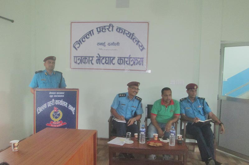 A police personnel addresses a press conference organised in Damauli, Tanahun district, on Saturday, September 1, 2018. Photo: Madan Wagle