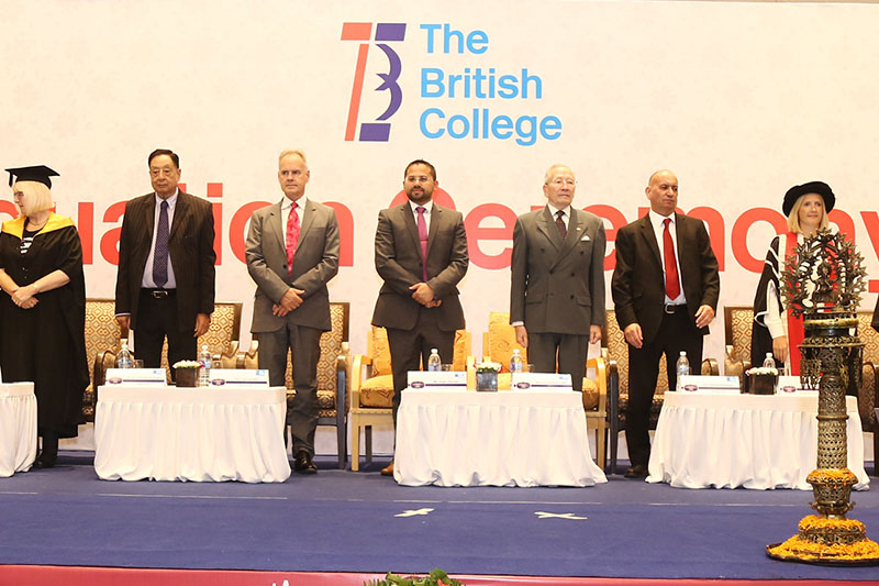 Guest of Honour and representatives from both the awarding universities attend 4th graduation ceremony of The British College in Kathmandu. Courtesy: TBC