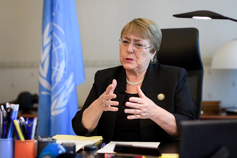 Former Chilean president Michelle Bachelet speaks from her office at the Palais Wilson on her first day as new United Nations (UN) High Commissioner for Human Rights in Geneva, Switzerland, September 3, 2018. Photo: Fabrice Coffrini/Pool via Reuters