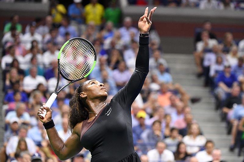 Serena Williams of the United States serves to Karolina Pliskova of Czech Republic in a quarter-final match on day nine of the 2018 US Open tennis tournament at USTA Billie Jean King National Tennis Centre, in New York, NY, USA, on September 4, 2018. Photo: Danielle Parhizkaran-USA TODAY SPORTS via Reuters