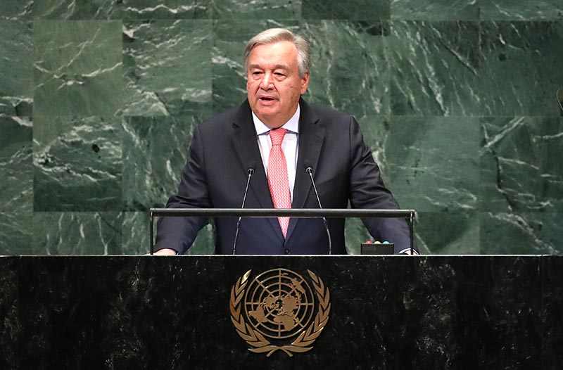United Nations Secretary General Antonio Guterres delivers the opening address at the 73rd session of the United Nations General Assembly at UN headquarters in New York, US, September 25, 2018. Photo: Reuters