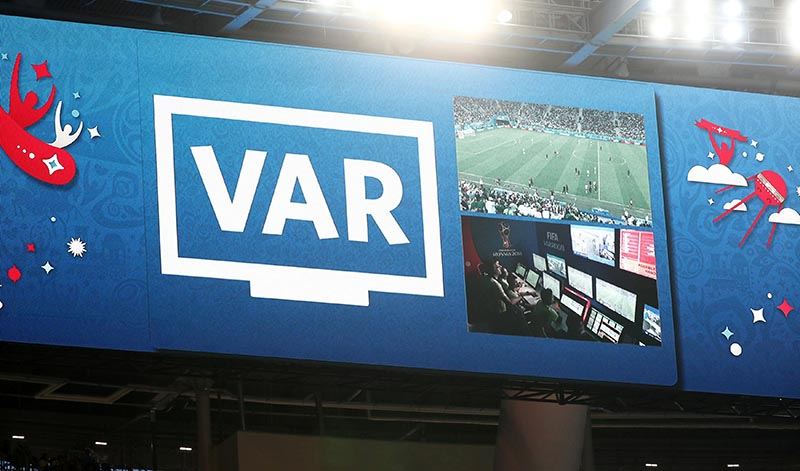 FILE - General view of the big screen as an incident is reviewed on VAR during the World Cup, Group D match between Nigeria and Atgentina, at Saint Petersburg Stadium, in Saint Petersburg, Russia, on June 26, 2018. Photo: Reuters