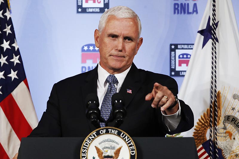 FILE - Vice President Mike Pence gestures while speaking to the Republican National Lawyers Association in Washington, on August 24, 2018 . Photo: AP