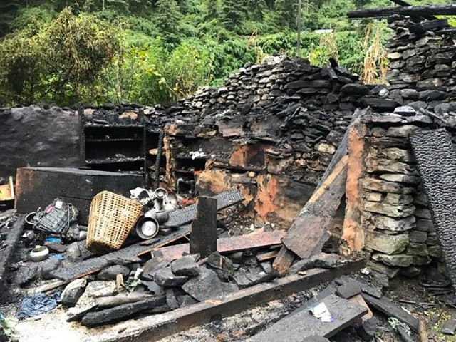 Remains of a house and property inside it are pictured following a fire caused by gas leak on September 23, 2018. Photo: Ramji Rana/THT