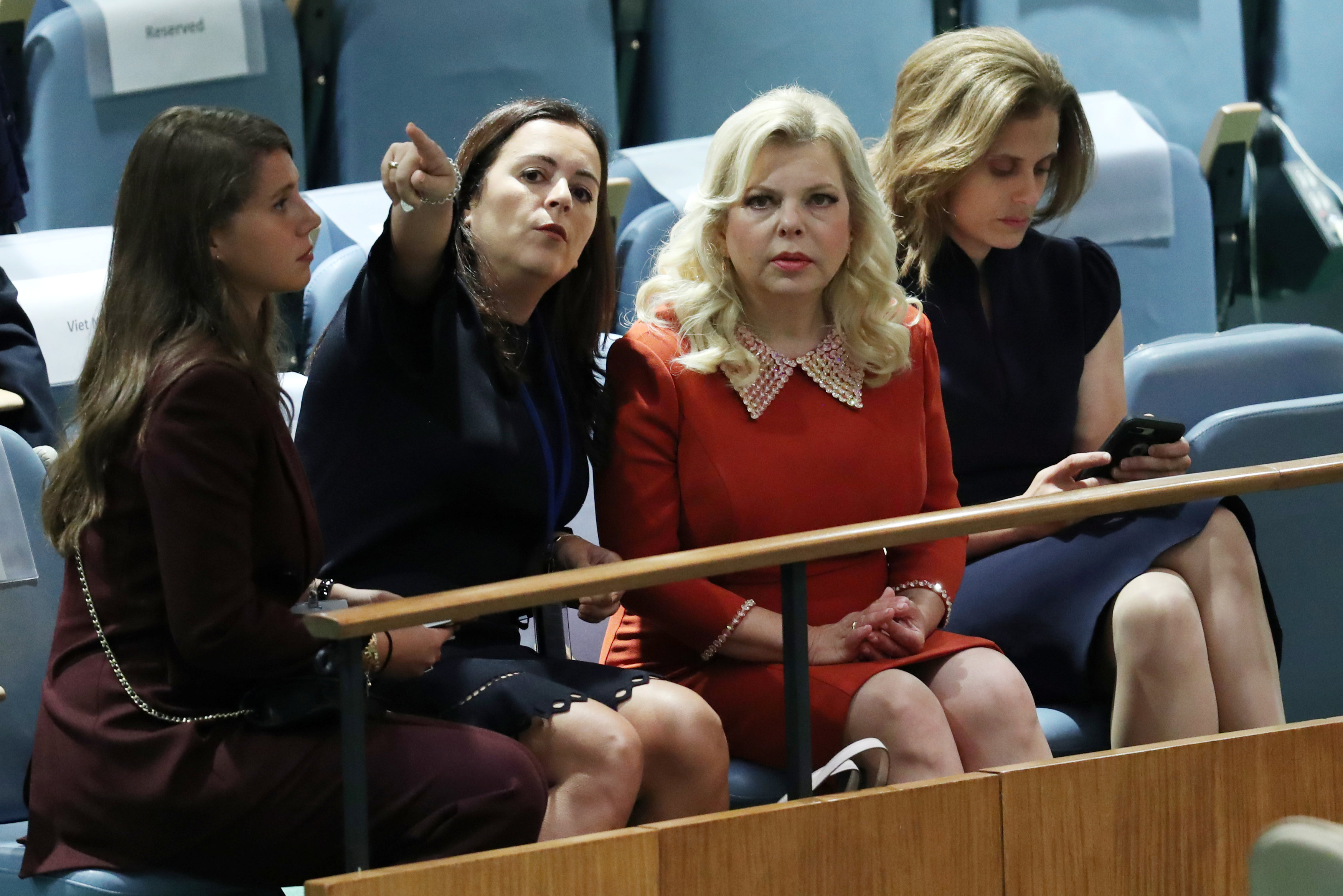 Israeli first lady Sara Netanyahu (2nd from R) attends the 73rd session of the United Nations General Assembly at U.N. headquarters in New York, U.S., September 27, 2018. REUTERS