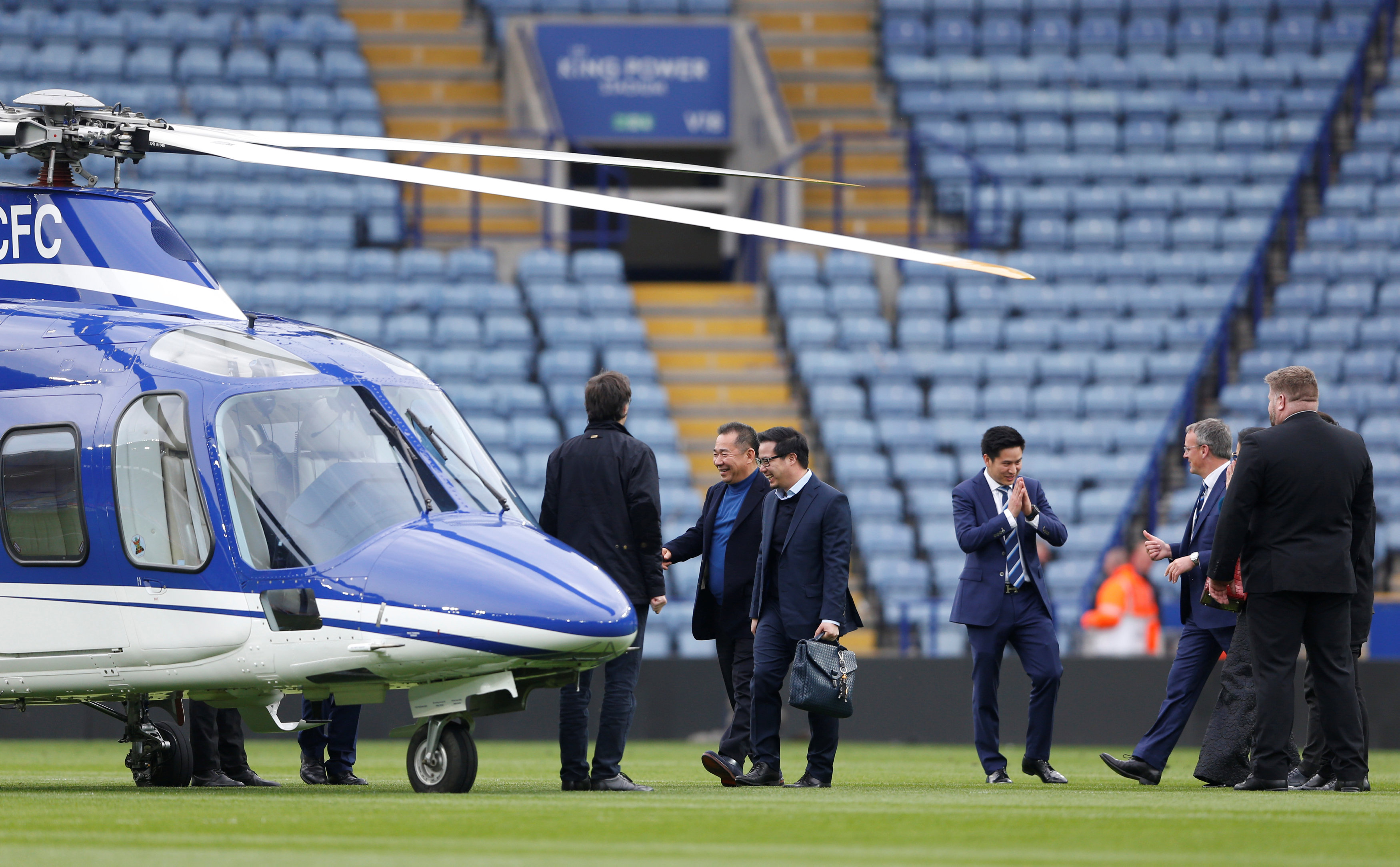 FILE PHOTO: Football Soccer - Leicester City v Southampton - Barclays Premier League - The King Power Stadium - April 3, 2016 Leicester City chairman Vichai Srivaddhanaprabha walks to his helicopter which has landed on the pitch after the game.  Reuters