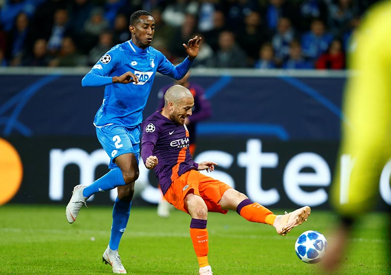 Manchester City's David Silva scores their second goal during the Champions League, Group F match between TSG 1899 Hoffenheim and  Manchester City, at Wirsol Rhein-Neckar-Arena, in Sinsheim, Germany, on October 2, 2018. Photo: Reuters