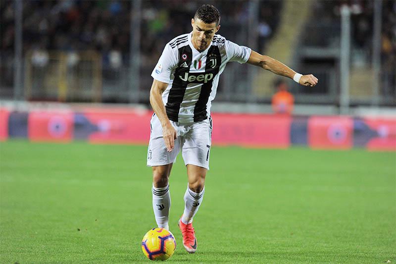 Juventus' Cristiano Ronaldo scores their second goal. Photo: Reuters