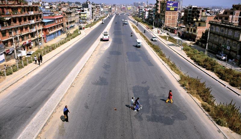 Few vehicles seen plying valley roads during Dashain.