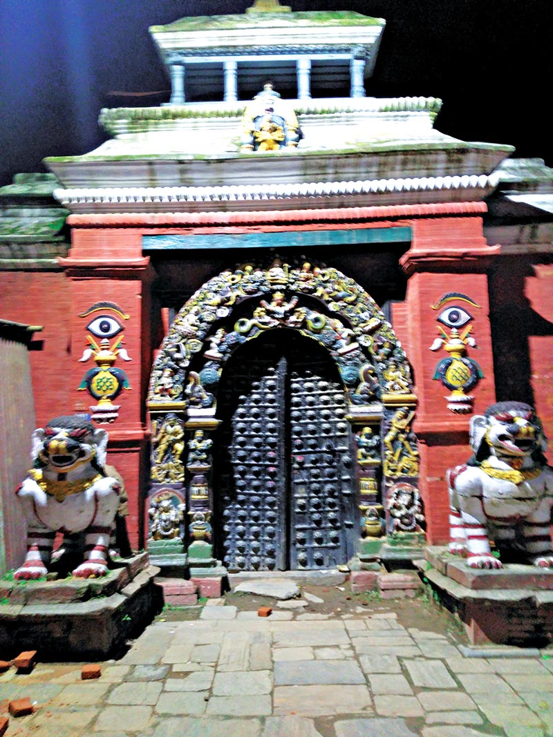 This undated image shows the entrance gate of Dashaighar in Hanumandhoka DurbarSquare, Kathmandu. Photo: THT