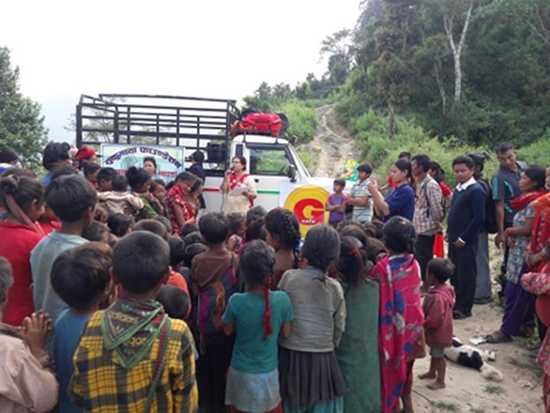 Chepang Community during the distribution of food items and clothing in Bursbang, Dhading district, on Thursday, October 11, 2018. Photo: Keshav Adhikari