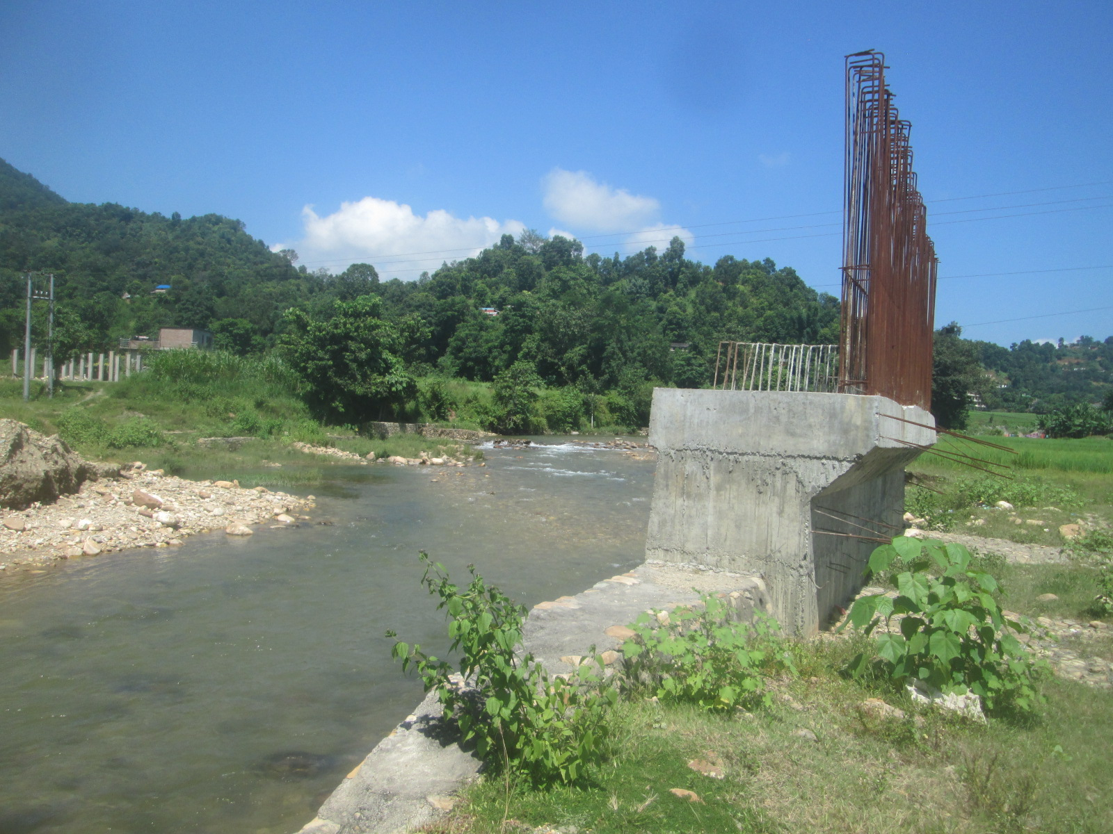 An under construction bridge at Sange river in Tanahun as seen on Wednesday, October 31, 2018. Photo: Madan Wagle/Tanahun