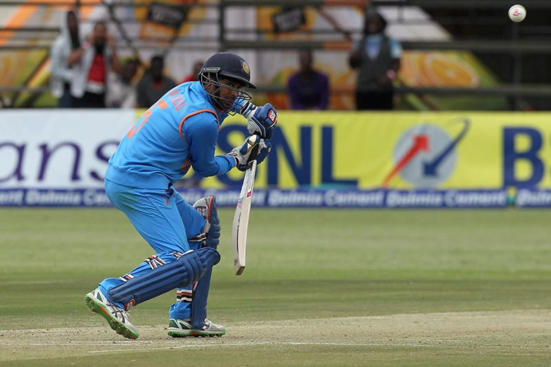 India's Ambati Rayudu plays a shot during the second One Day International match between India and Zimbabwe, in  Harare, Zimbabwe on June 13, 2016. Photo: Reuters/ File